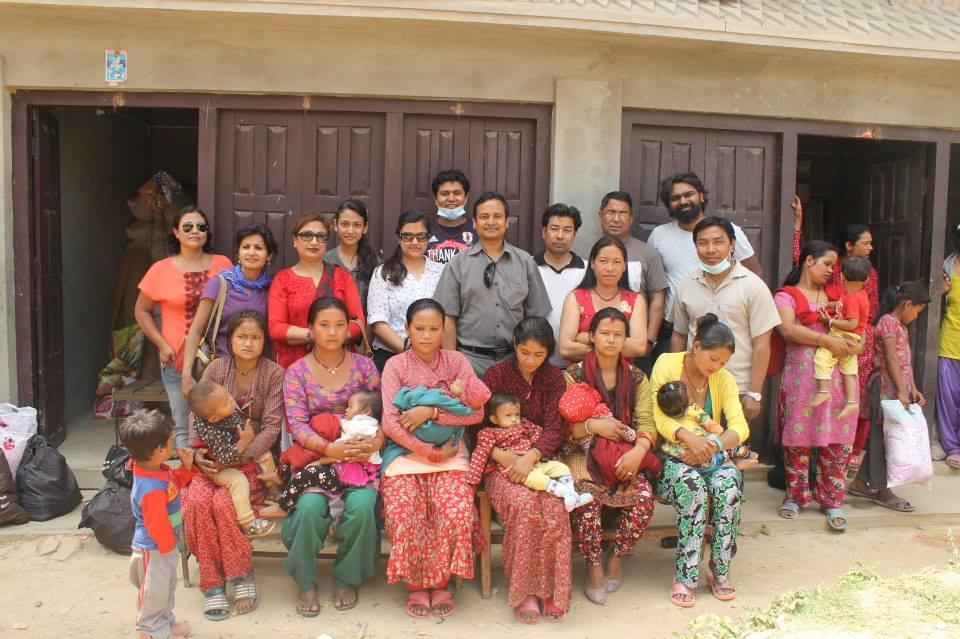 Team Group picture with Breastfeeding mothers post supplies distribution in Changu Village, Bhaktapur District